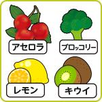 アセロラ、レモン、キウイ、ブロッコリー