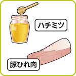 ハチミツ、豚ひれ肉