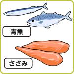 青魚、ささみ