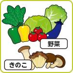 野菜、きのこ
