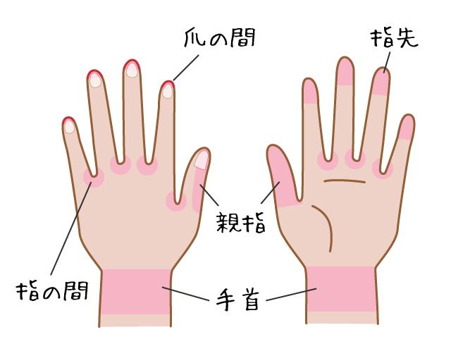 手の汚れが残りやすい部分